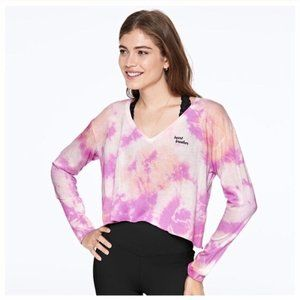 NWT VS PINK Girlfriend V-Neck LS Crop Tie Dye Tee